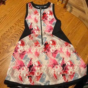 Geometric floral scuba dress